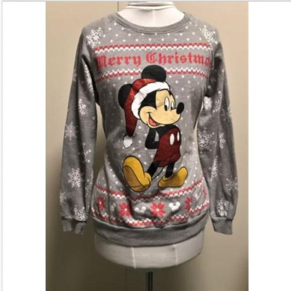 Disney Tops Mickey Mouse Merry Christmas Sweatshirt Womens Lg